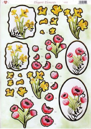 Daffodil Elegant Elements Gold Foiled Die Cut 3d Decoupage Sheet From Craft UK Ltd